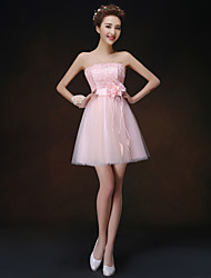 Short/Mini Bridesmaid Dress - Pearl Pink A-line / Princess Strapless