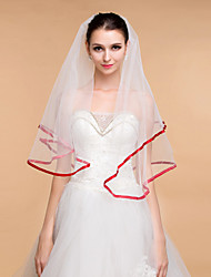 Wedding Veils Women's Elegant Tulle Rhinestone One-tier Ribbon Edge Veils