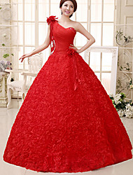 Ball Gown Wedding Dress - As Picture (color may vary by monitor) Floor-length One Shoulder Lace