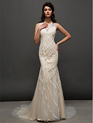 LAN TING BRIDE Trumpet / Mermaid Wedding Dress Wedding Dress in Color Court Train Jewel Tulle with Lace