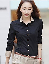 Women's Black Shirt , Shirt Collar Long Sleeve