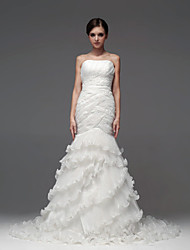 Sheath/Column Floor-length Wedding Dress -Strapless Satin