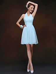 Bridesmaid Dress Short / Mini Lace-up - Sheath / Column Halter with Ruching