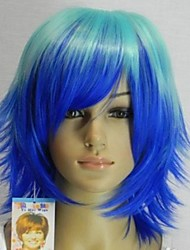 Women's Fashionable  Blue  Lake Blue Mix Straight Short Cosplay Wig  with Side Bang
