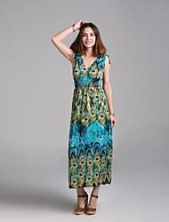 Maxi - Vestido - Sensual/Playa/Casual/Impresión/Tallas Grandes - Viscosa/Elástico