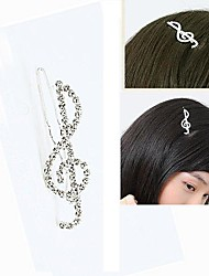 Fashion Cute Rhinestone Notes Hairpin