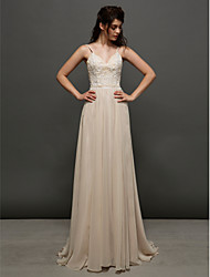 Lanting Bride Lanting A-line Wedding Dress Court Train Spaghetti Straps Chiffon / Lace