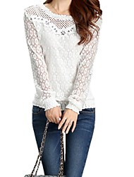 Women's Solid White Blouse , Round Neck Long Sleeve Lace