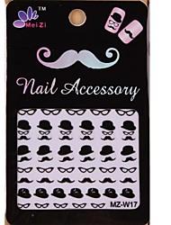 1PCS Cartoon Mustache Style Nail Art Stickers MZ Series MZ-W17