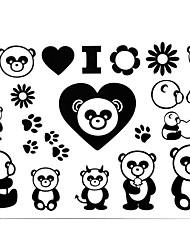 2 stk Yimei tatovering klistermærker vandtæt dyr serien kvinder / piger / mænd / voksen / dreng / teenager sort panda mønster 17cm * 16cm