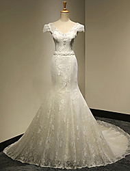 Trumpet/Mermaid Wedding Dress - White & Champagne (color may vary by monitor) Cathedral Train V-neck