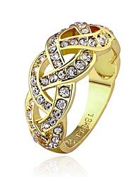 18 K Gold Plated Environmental Round Band Diamond  Ring (More Colors)