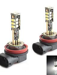 hj h8 5W 450lm 5500-6000K 15x2835 SMD LED branco lâmpada de luz de freio de estacionamento (12-24V, 2 peça)