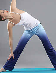 OUDIKE Women's Spring Summer Polyester White Vest and Lake Blue Gradients Pants Micro-elastic Yoga Suit