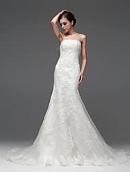 A-line Floor-length Wedding Dress -Bateau Satin