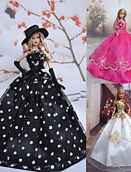 Princess Dresses For Barbie Doll White / Black / Fuschia Dresses For Girl's Doll Toy
