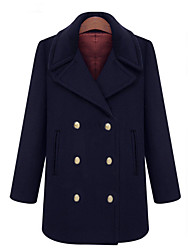Women's Coat,Solid Long Sleeve Winter Blue Wool / Others Thick
