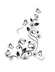 Wandtattoo Wandtattoo, Blume Schmetterling wasserdicht Bad Aufkleber