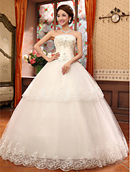 Ball Gown Wedding Dress Lacy Look Floor-length Strapless Lace with Appliques Beading Ruche
