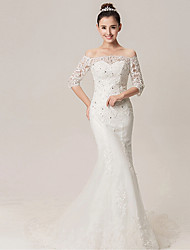 Trumpet/Mermaid Wedding Dress - White Court Train Off-the-shoulder/Sweetheart