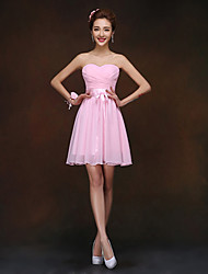 Short/Mini Bridesmaid Dress - Blushing Pink Sheath/Column Sweetheart