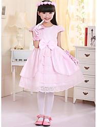 Princess Knee-length Flower Girl Dress - Lace/Satin Short Sleeve