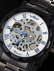 WINNER® Men's Manual Mechanical Hollow Skeleton Blue Pointer Black Steel Band Wrist Watch (Assorted Colors) Cool Watch Unique Watch