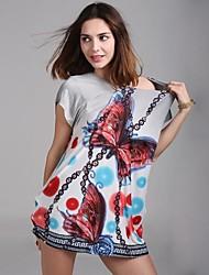 Mini - Vestido - Cosecha/Sensual/Playa/Casual/Impresión/Bonito/Tallas Grandes - Viscosa