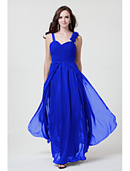 Floor-length Chiffon Bridesmaid Dress Sheath / Column Straps with Flower(s) / Criss Cross