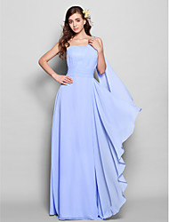 LAN TING BRIDE Floor-length Watteau Train One Shoulder Bridesmaid Dress - Elegant Sleeveless Chiffon