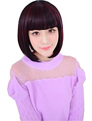 Short Straight Heat Resistant Fiber Synthetic BOB Wig with Full Bang