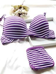 Soutien-gorge ( Bleu/Gris/Violet , Coton ) - Push-up/Bonnet 3/4