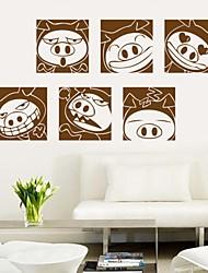 наклейки наклейки для стен, милые коричневые свиньи сталкиваются ПВХ стены стикеры