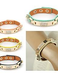 Women Genuine Leather Bracelet Crystal Bangle Fashion Cuff Metal Wristband Lady