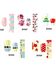 14pcs belle no.20-24 style cartoon Stricker nail art de la série D (modèle assortis)