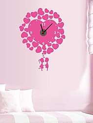 Wall Clock Stickers Wall Decals, Hearted Loverand Battery Feature Removable  PVC Wall Stickers