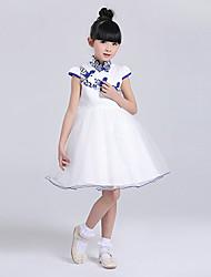 A-line Knee-length Flower Girl Dress - Satin Short Sleeve