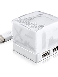 Sharkoon cube nuit prise d'extension de lumière avec Hub USB 2.0 blanc