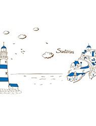 sticker mural stickers muraux, océan phare mouette imperméables salle de bains autocollants