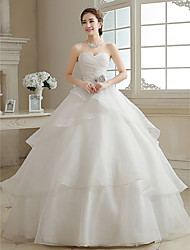 Ball Gown Sweetheart Floor Length Organza Wedding Dress with Criss-Cross Flower Tiered by JUEXIU Bridal