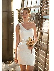 Sheath/Column Knee-length  Wedding Dress -One Shoulder Lace