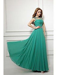 Sheath / Column Bateau Neck Floor Length Chiffon Evening Dress with Beading