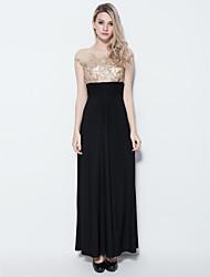 Sheath/Column Jewel Floor-length Jersey Evening Dress