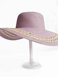 Fashion  Paper Rattan Straw Ladies Outdoor/Casual/Beach Hats With Long Brim And Hollow(More Colors)