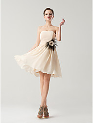 Knee-length Chiffon Bridesmaid Dress - Champagne / Fuchsia A-line Strapless