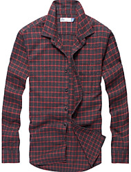 Men's Long Sleeve Shirt , Cotton Casual/Work/Sport Plaids & Checks