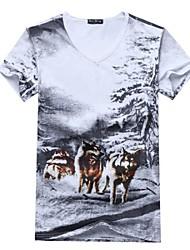 Informeel - Opdruk - Korte Mouw - MEN - Katoen - T-shirts - Wit/Grijs