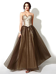 Formal Evening Dress - Brown Plus Sizes / Petite A-line Sweetheart Floor-length