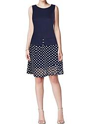 Women's Polka Dot Blue Dress , Vintage Round Neck Sleeveless