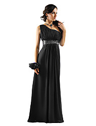 Floor-length Chiffon Bridesmaid Dress - Sheath / Column One Shoulder with Sash / Ribbon